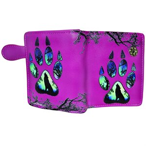 Ladies Short Wallet - Wolf Paw Print, Fuchsia