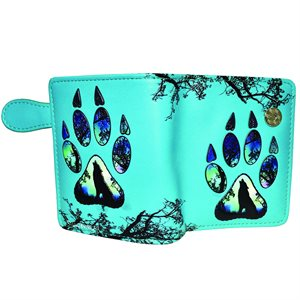 Ladies Short Wallet - Wolf Paw Print, Teal