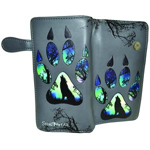 Ladies Wallet - Wolf Paw Print - Teal