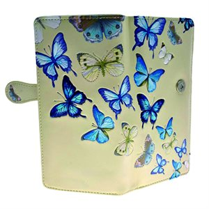 Ladies Wallet - Butterflies - Cream (Zipper)