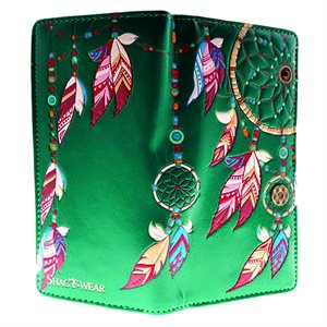 Ladies Wallet - Dream Catchers - Teal (Zipper)