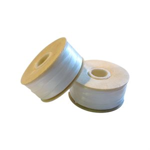 Nymo Thread Bobbin Size D -  White, 64 Yards (2 Bobbins)